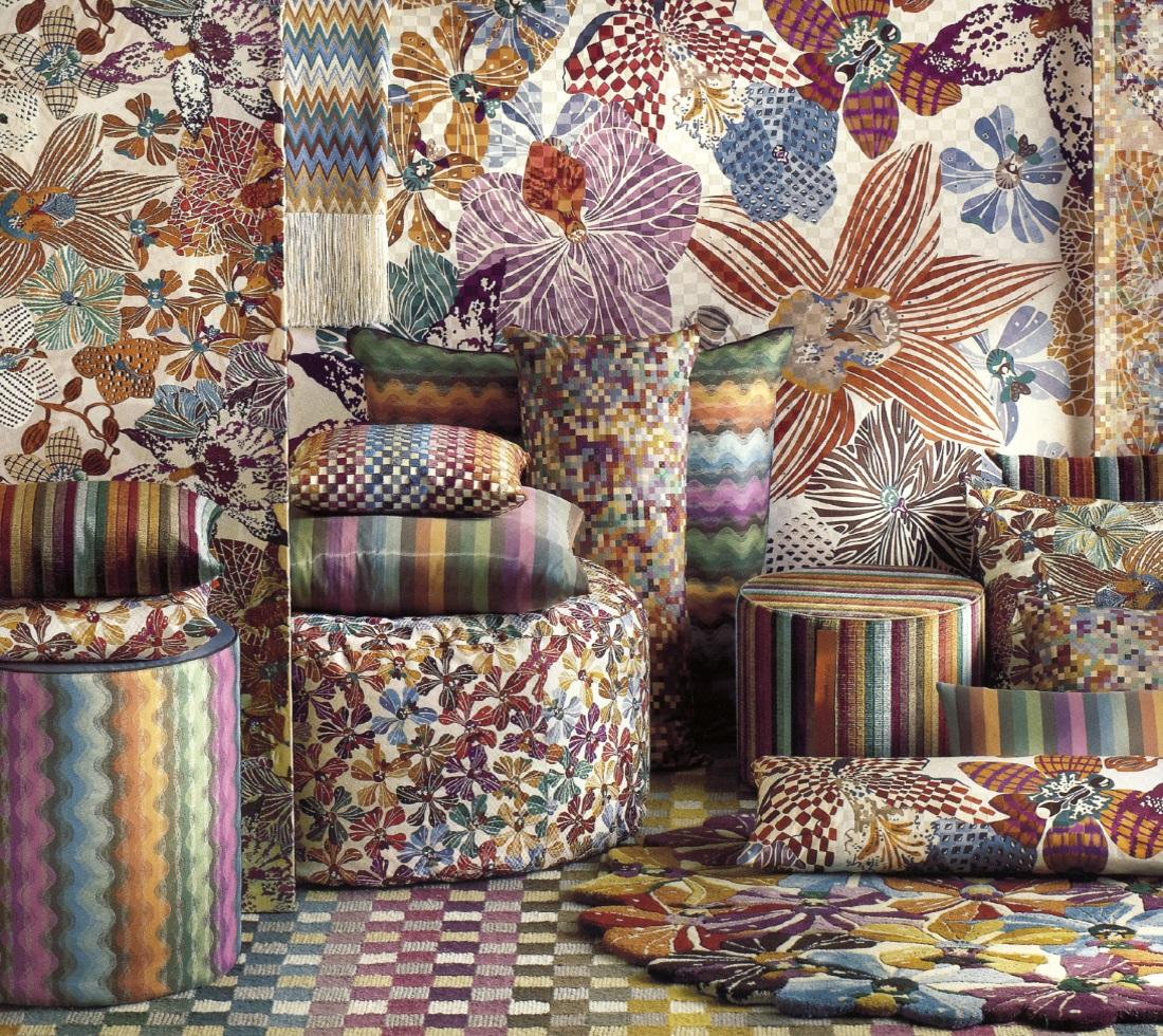 Tessuti Missoni per divani, poltrone in tessuto Missoni